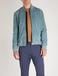 Paul Smith Suede Bomber Jacket Pale Blue