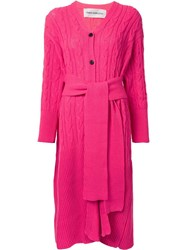 Taro Horiuchi Long Belt Waist Cardigan Pink Purple