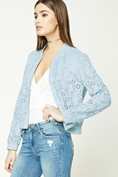 Forever 21 Laser Cut Faux Suede Bomber