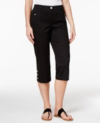 Karen Scott Petite Dot Print Button Hem Capri Pants Only At Macy's Deep Black Combo