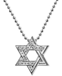 Alex Woo Diamond Accent Star Of David Pendant Necklace In 14K White Gold