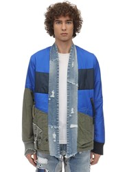 Greg Lauren Puffy Nylon And Army Kimono Jacket Blue