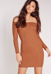 Missguided Ribbed Jersey Long Sleeve Bardot Bodycon Dress Tan Brown