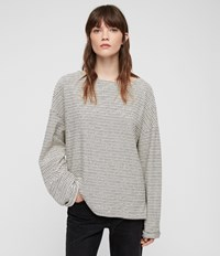 Allsaints Adelise Stripe Top Ecru White Black