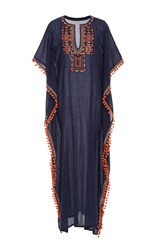 Chantik Long Tribal Embroidered Caftan Navy