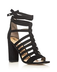 Sam Edelman Yarina Caged Ankle Tie High Heel Sandals Black