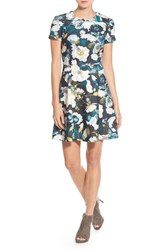 Eliza J Petite Women's Print Ponte Fit And Flare Dress Green Multi