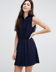 Greylin Gianna Fringe Trim Shirt Dress Navy