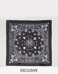 Reclaimed Vintage Inspired X Romeo And Juliet Bandana With Paisley Skull Print Black