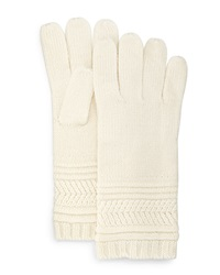 Neiman Marcus Mix Stitch Gloves Ivory