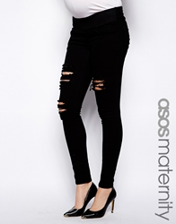 Asos Maternity Ridley Jean In Black With Extreme Rips And Under The Bump Waistband