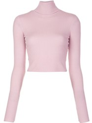 A.L.C. Turtleneck Cropped Jumper Pink And Purple