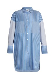 Golden Goose Long Line Striped Shirt Light Blue