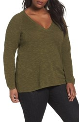 Eileen Fisher Plus Size Women's Organic Linen And Cotton Top Olive