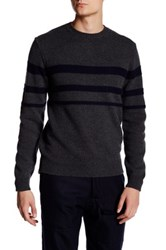 Billy Reid Stripe Crew Neck Sweater Gray