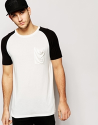 Asos Super Longline T Shirt With Contrast Raglan And Drapey Skater Fit Whiteblack