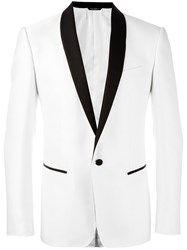 Dolce And Gabbana Dotted Print Dinner Jacket White
