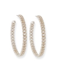 Fallon Pave Curb Chain Hoop Earrings Silver