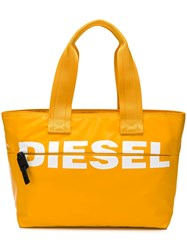Diesel Printed Logo Shopper Tote Yellow And Orange