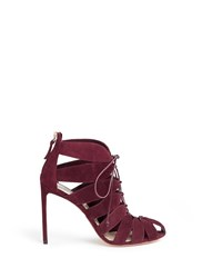 Francesco Russo Caged Suede Sandal Booties Red