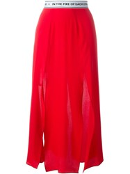 Each X Other Front Slit Midi Skirt Red