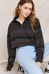 Urban Renewal Remade Assorted Rugby Cropped Shirt Charcoal