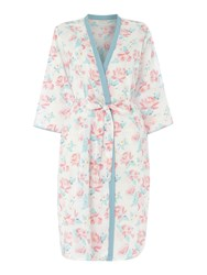 Cyberjammies Olivia Large Floral Print Lightweight Robe White