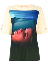 Opening Ceremony Portrait Print Short Sleeve T Shirt Nude And Neutrals