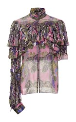 Rodarte Hand Beaded Silk Chiffon And Lace Blouse Fuchsia