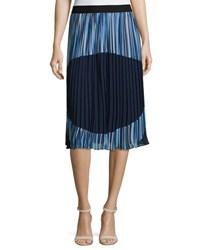 Catherine Malandrino Pleated Pull On Skirt Blue Pattern
