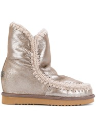 Mou Eskimo Boots Women Cotton Sheep Skin Shearling Rubber 40 Nude Neutrals
