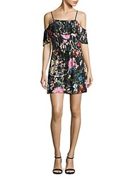 Delfi Collective Cecilia Floral Print Cold Shoulder Dress Black Multi
