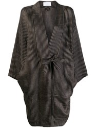 Reality Studio Striped Loose Fit Coat Brown