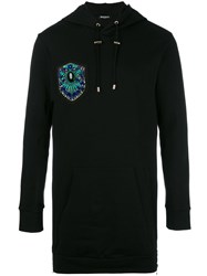 Balmain Embroidered Side Zip Hoodie Black