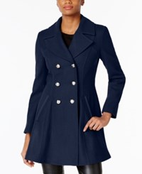Laundry By Shelli Segal Double Breasted Skirted Peacoat Classic Navy