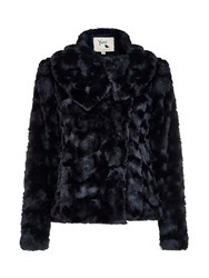 Yumi Fluffy Faux Fur Jacket Black