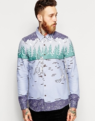Asos Christmas Shirt In Long Sleeve With Eskimo Fishing Print Blue