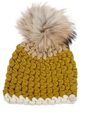 Mischa Lampert Women's Fur Pom Pom Wool Hat Yellow