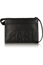 3.1 Phillip Lim Cash Only Embossed Leather Clutch Black