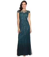 Adrianna Papell Illusion Neckline Embellished Gown Hunter Women's Dress Green