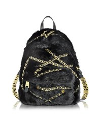 Moschino Black Faux Fur Backpack