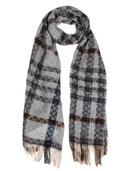 Dents Women S Checked Open Weave Scarf Navy