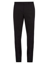 Gucci Bee Embroidery Slim Leg Stretch Cotton Trousers Black