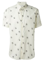 Alexander Mcqueen Skull And Polka Dot Button Down Shirt Nude And Neutrals