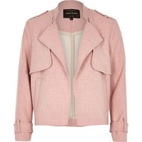 River Island Womens Pink Cropped Trench Jacket