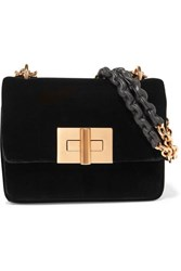 Tom Ford Natalia Velvet Shoulder Bag Black