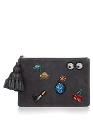 Anya Hindmarch Space Invaders Georgiana Suede Clutch Grey Multi