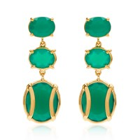 Alexandra Alberta Lexington Green Chalcedony Earring Gold Green