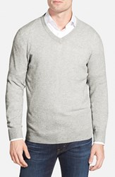 Men's Big And Tall Nordstrom Cashmere V Neck Sweater Grey Light Heather