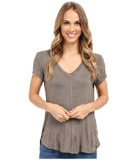 Bobeau Adley V Neck High Low T Shirt Taupe Women's T Shirt